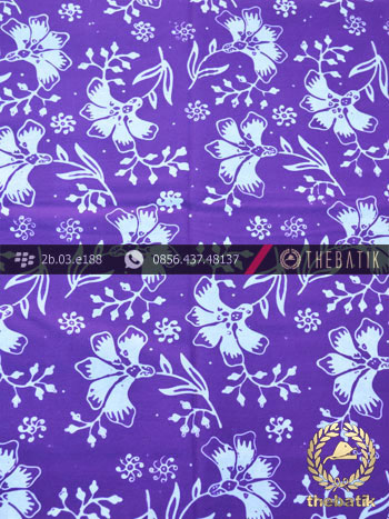 Kain Batik Cap Motif Ceplok Kembang Ungu