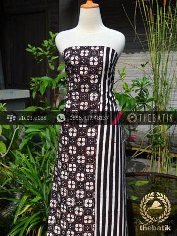 Kain Batik Cap Motif Kawung Banji Seling Garis