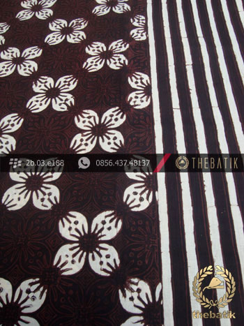 Kain Batik Cap Motif Kawung Prabu Seling Garis