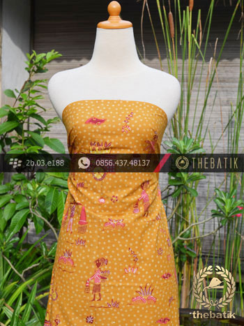 Batik Tulis Cirebon Motif Kumpeni Halus Kuning Pink