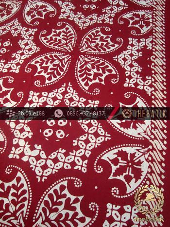 Kain Batik Cap Motif Lereng Wirasat Kembang Marun