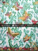 Batik Tulis Cirebon Motif Mega Mendung Hijau Kupu Merah
