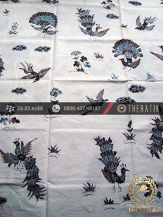 Batik Tulis Cirebon Motif Burung Merak Latar Putih