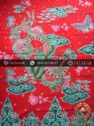 Batik Tulis Cirebon Motif Naga Gede Latar Merah