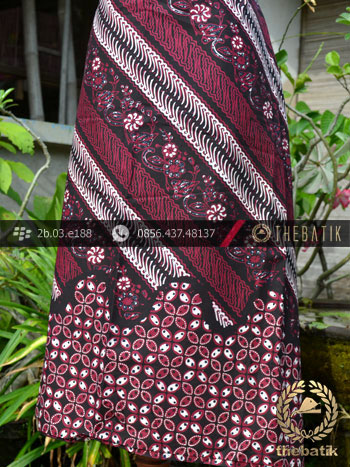 Kain Batik Cap Tulis Jogja Motif Parang Seling Kawung Merah
