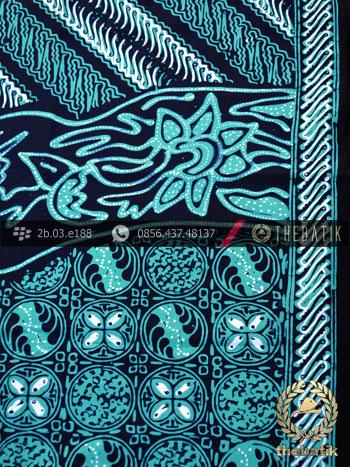 Kain Batik Cap Tulis Jogja Motif Pulau Kombinasi Hijau Tosca