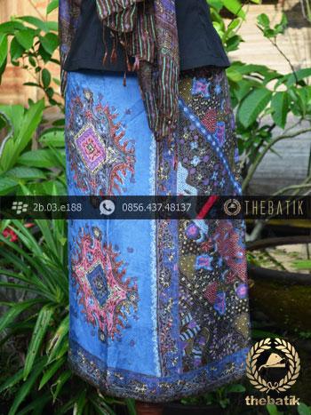 Sarung Selendang Batik Sutera Biru