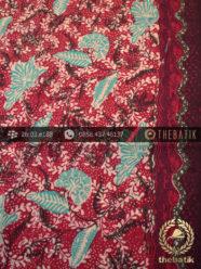 Kain Batik Sutera Motif Coletan Tosca Latar Merah