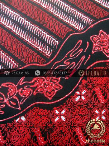 Kain Batik Cap Tulis Jogja Motif Pulau Lukis Merah  THEBATIKcoid
