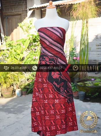 Kain Batik Cap Tulis Jogja Motif Pulau Lukis Merah