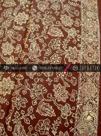 Kain Batik Sutera Motif Ceplok Coklat Emas