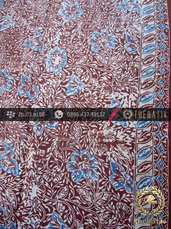 Kain Batik Sutera Motif Coletan Biru Abu-Abu