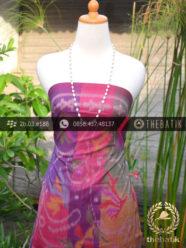 Kain Tenun Indonesia Motif Bouquet Pelangi Pink