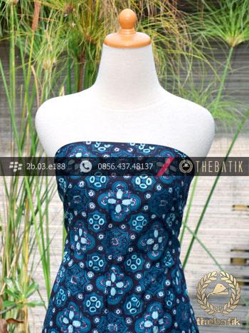 Batik Cap Tulis Jogja Motif Ceplok Kelir Biru