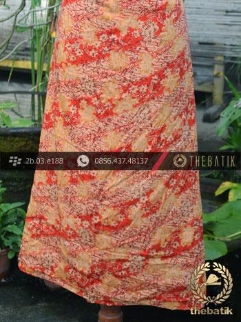 Kain Batik Sutera Motif Lereng Kembang Kombinasi Orange