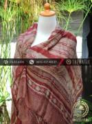 Sarung Selendang Batik Sutera Motif Bouquet Garis Maroon