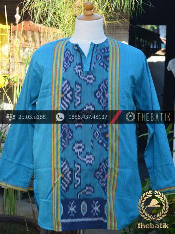Baju Koko Tenun Ikat Warna Biru Muda