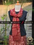 Sarung Selendang Batik Sutera Motif Guci Merah Marun
