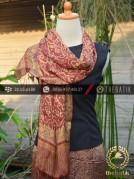 Sarung Selendang Batik Sutera Motif Pesisiran Marun Emas