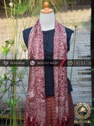 Sarung Selendang Batik Sutera Motif Marun Etnika