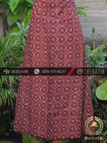 Batik Cap Tulis Jogja Motif Ceplok Kembang Marun