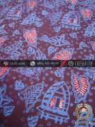 Batik Cap Tulis Jogja Motif Daun Kombinasi Biru Merah