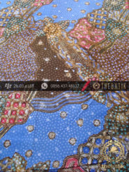 Batik Cap Tulis Pesisiran Motif Sekarjagad Biru Kontemporer