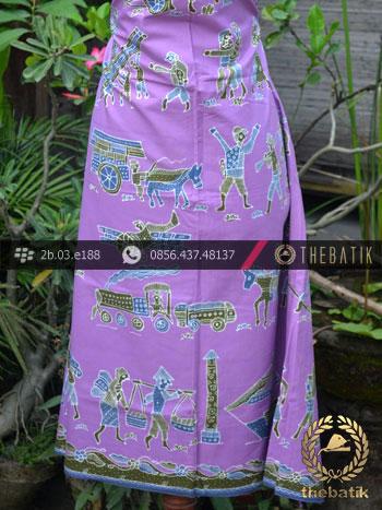 Batik Tulis Kumpeni Motif Dokar Latar Ungu