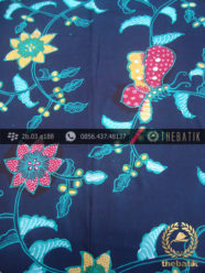 Batik Tulis Jogja Motif Kupu Colet Biru Dongker