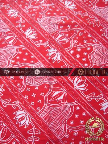 Kain Batik Tulis Jogja Motif Sekarjagad Lereng Merah
