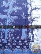 Kain Batik Tulis Motif Pohon Hayat Biru Latar Putih