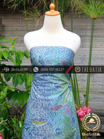 Batik Cap Tulis Pesisir Motif Bouquet Coletan Biru Hijau