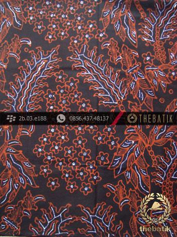 Kain Batik Tulis Jogja Motif Pakis Taji Latar Hitam