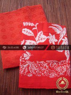 Paket Batik Kombinasi Bahan Dobi Merah