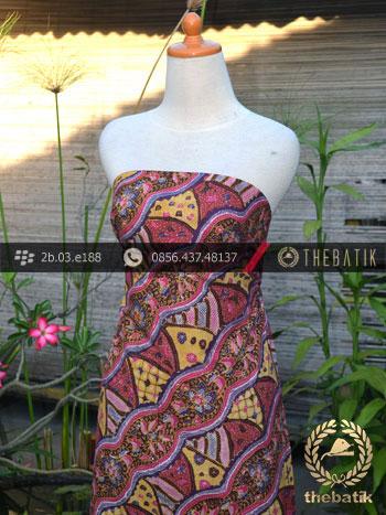 Batik Tulis Motif Lereng Kontemporer Pink Kuning