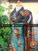 Sarung Selendang Batik Sutera Buketan Tosca Hitam