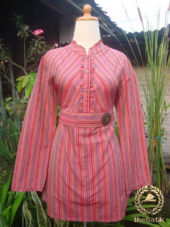 Jahit Baju Batik Wanita Blouse Lurik Thebatik Co Id