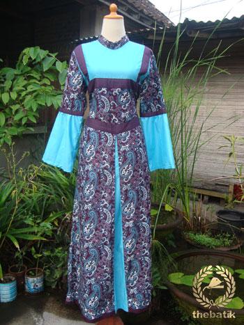 Jahit Baju Batik Wanita Model Gamis Thebatik Co Id
