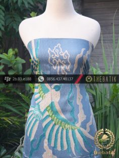 Bahan Kemeja Batik Sutera Tulis Motif Peksi Biru