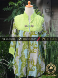 Jual Model Baju Batik Kerja Wanita - Biru Ikat  a3beb38832