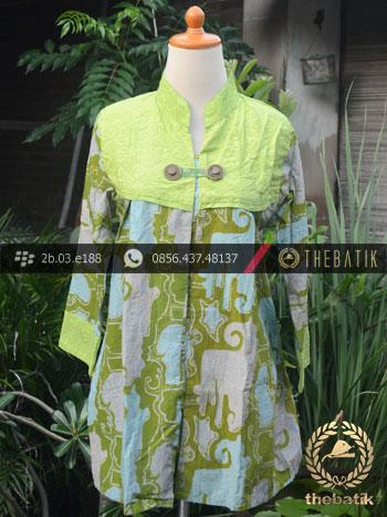 Model Baju Batik Kerja Wanita  Hijau Kombinasi  THEBATIKcoid