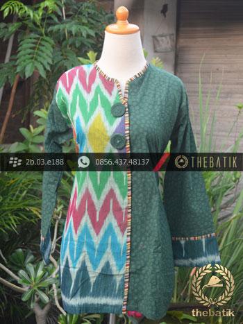 Jual Model Baju Batik Kerja Wanita Hijau Ikat Thebatik