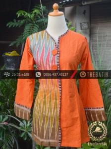 Jual Model Baju Batik Kerja Wanita Jingga Ikat Thebatik Co Id