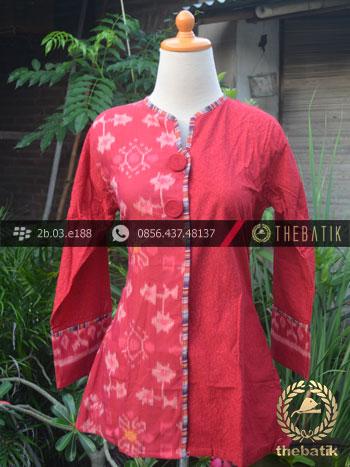 Jual Model Baju Batik Kerja Wanita Merah Ikat Thebatik Co Id