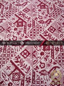 Kain Batik Cap Motif Tambal Buketan Marun