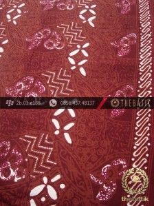 Kain Batik Cap Tulis Motif Ceplok Kombinasi Marun
