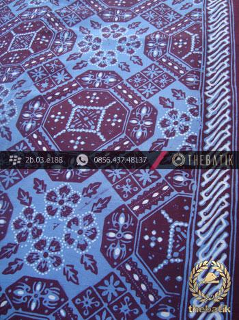 Kain Batik Cap Tulis Motif Ubin Buketan Biru