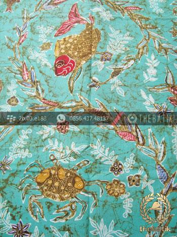 Kain Batik Cap Tulis Remukan Motif Ikan Hijau