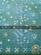 Kain Batik Cap Tulis Motif Sekarjagad Hijau Biru