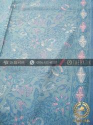 Bahan Baju Batik Modern Motif Floral Biru